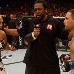 Edgar (dir.) e Penn (esq.) se enfrentarão pela terceira vez em julho. Foto: Divulgação/UFC