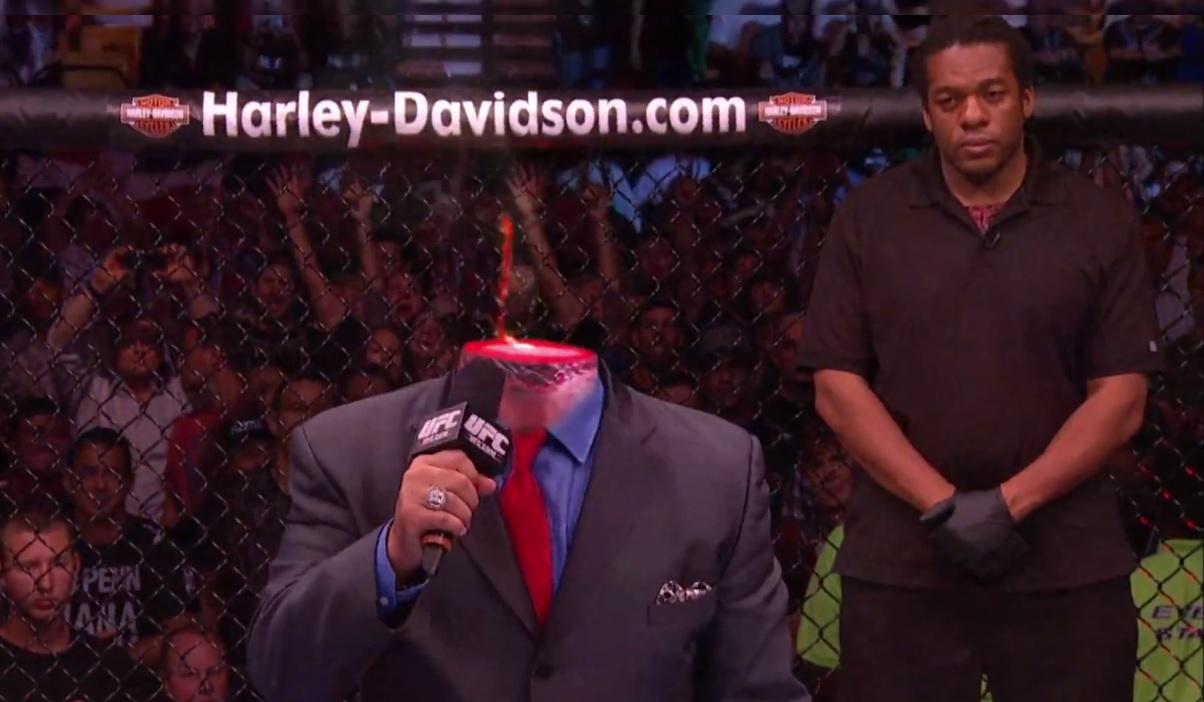 """A criatividade dos produtores dos anúncios do Ultimate não tem limite. No mais recente vídeo promocional do UFC 165, que acontece neste sábado (21) no Canadá, a cabeça da """"voz […]"""