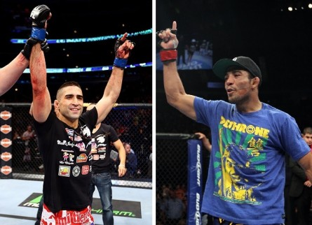 J. Aldo (dir.) pode encarar R. Lamas (esq.) em fevereiro. Foto: Produção MMA Press (Josh Hedges/UFC)