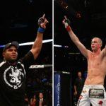 Overeem (esq.) enfrenta Struve (dir.) em Phoenix (EUA). Foto: Produção SUPER LUTAS (Josh Hedges/UFC)