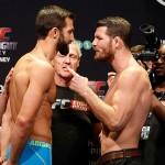 Rockhold (esq.) e Bisping (dir.) se estranharam na pesagem do UFC Sydney. Foto: Divulgação/UFC