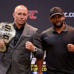 GSP (esq) lutou com J. Hendricks (dir) em 2013 Foto: Josh Hedges/UFC