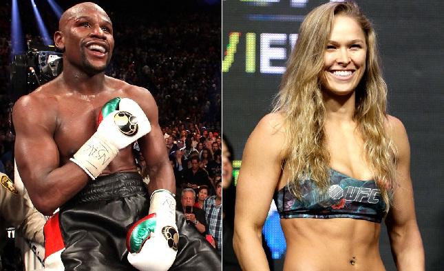 Ronda (dir.) e Mayweather (esq.) sempre foram desafetos. Foto: Produção SUPER LUTAS (Divulgação/UFC)