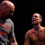N. Diaz (dir) fez acusações contra D. White (esq) e McGregor Foto: Josh Hedges/UFC
