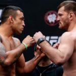 Werdum (esq.) e Miocic (dir.) se enfrentaram em maio deste ano. Foto: Buda Mendes/UFC