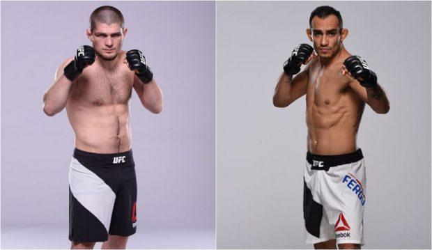 Khabib (esq) e Ferguson (dir) vão se enfrentar no UFC 209. (Foto: Produção SUPER LUTAS / Getty Images)