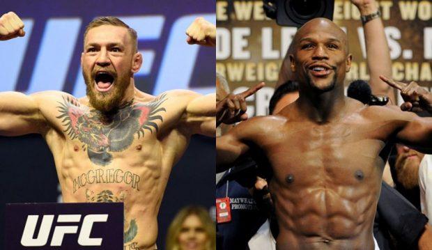 C. McGregor (esq) e F. Mayweather (dir) podem se enfrentar em breve (FOTO: UFC/Divulgação)