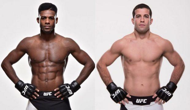 A. Tanquinho (dir) enfrenta A. Sterling em abril (Foto: UFC/Montagem: Super Lutas