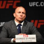 GSP na coletiva de anúncio de luta com M. Bisping (FOTO: Josh Hedges/UFC)