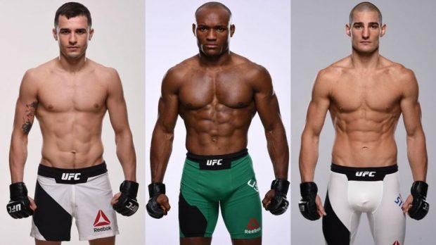 Jury (esq), Usman (centro) e Strickland (dir) lutarão no UFC 210 (Fotos: UFC/Montagem: Super Lutas)