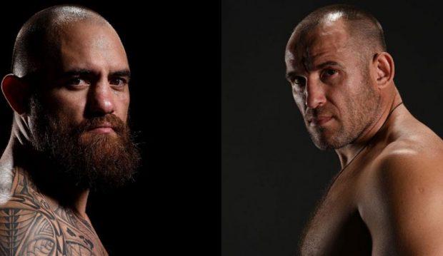 T. Browne (esq) enfrenta A. Oleinik (dir) (Fotos: UFC/Montagem: Super Lutas)