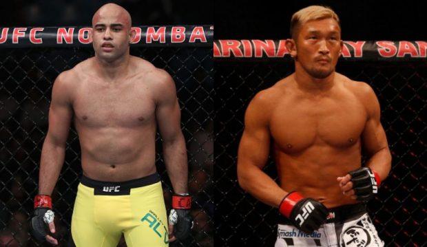 Warlley (esq) e Kunimoto (dir) se enfrentam em junho.(Fotos: UFC/Montagem: Super Lutas)