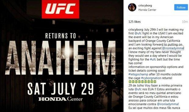 Cyborg anunciou luta pelo cinturão no UFC 214. Foto: Reprodução / Instagram