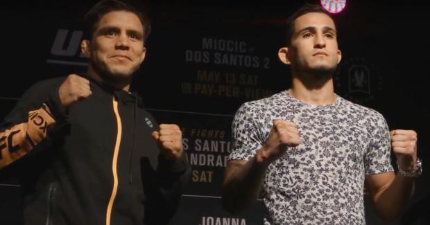 Cejudo (esq) e Pettis (dir) não vão mais se enfrentar no UFC 211 (Foto: Reprodução/Youtube)