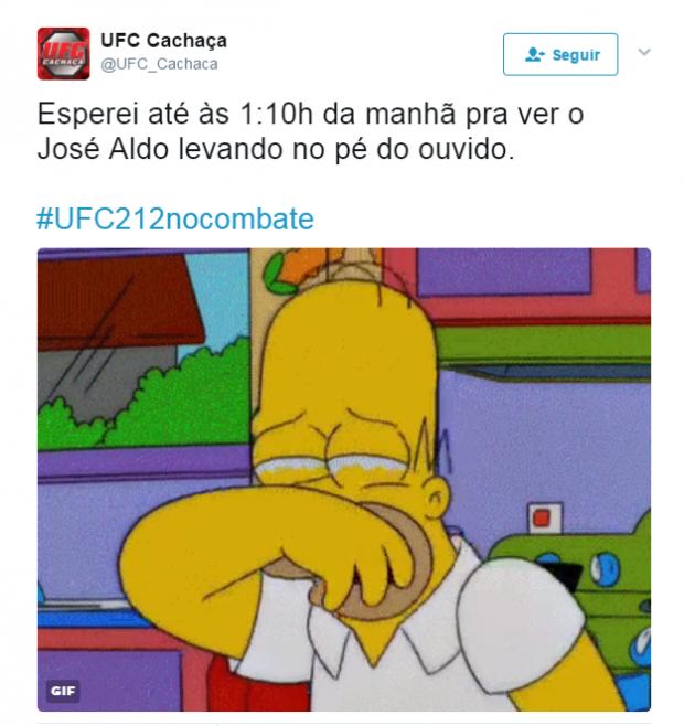 Internautas não perdoam derrota de Aldo no UFC 212. Foto: Reprodução/Twitter
