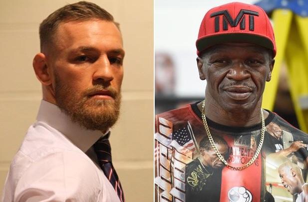 C. McGregor (esq) 'confundiu' Floyd com seu pai (Foto: Reprodução Twitter TheNotoriousMMA)