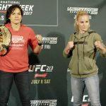 Amanda e Valentina vão lutar no UFC 215 (Foto: Reprodução/Twitter UFCBrasil)