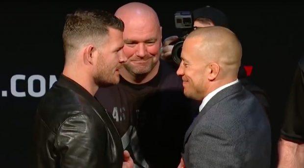 GSP (dir) enfrenta Bisping (esq) em novembro (Foto: Reprodução/Youtube UFC)