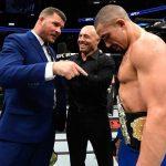 M. Bisping (esq) provocou R. Whittaker (dir) Foto: Reprodução/Facebook/UFC