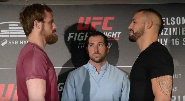 Nelson (esq) enfrenta Santiago (dir)(Foto: Reprodução/Youtube UFC)