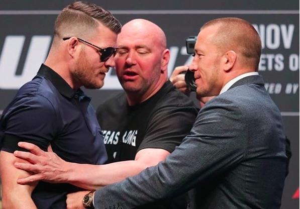 Bisping (esq) e GSP (DIR) voltaram a se desentender (Foto:Reprodução/Instagram MikeBisping)