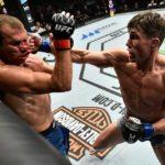 Till (dir) quebrou o nariz de Cerrone (esq) no UFC Polônia (Foto: Reprodução Twitter ufc_brasil)