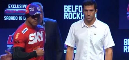 Belfort (esq.) encara Rockhold (dir.) no UFC Combate 2. Foto: Reprodução