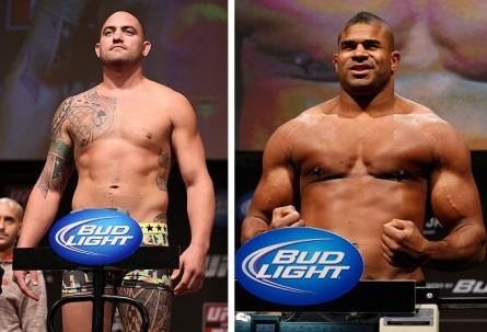 T. Browne (esq.) e A. Overeem (dir.) se enfrentam no próximo dia 17. Foto: Produção MMA Press (Divulgação/UFC)