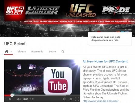 Capa do 'UFC Select' para os usuários brasileiros. Foto: YouTube/Reprodução