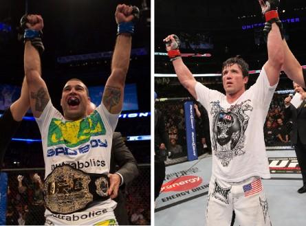 M.Shogun (esq.) vai enfrentar C. Sonnen (dir.) no UFC 161. Foto: Produção MMA Press (UFC/Divulgação)