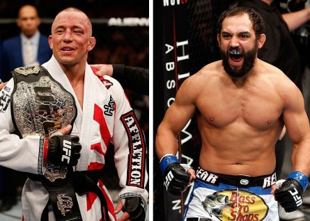 GSP (esq.) busca sua nona defesa de título contra J.Hendricks (dir.) no UFC 167. Foto: Produção MMA Press (Divulgação/UFC)