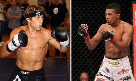 Y. Marajó (dir.) encara o experiente U. Hall (esq.) em agosto. Foto: Produção MMA Press (Divulgação/UFC)