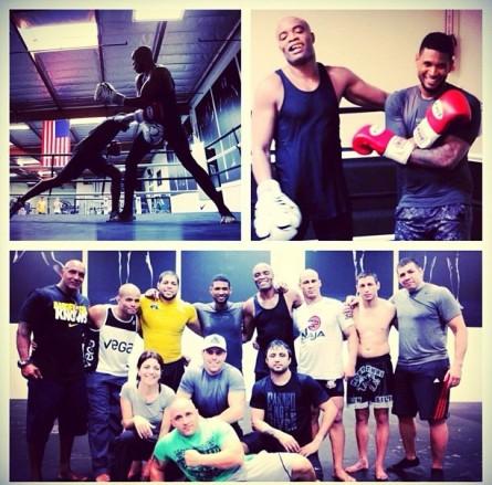 Usher publicou uma montagem com fotos dos treinos com A. Silva. Foto: Instagram/Reprodução