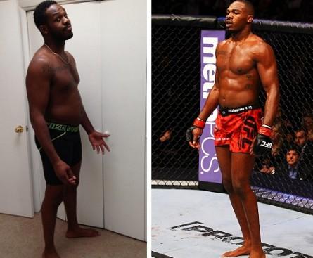 J. Jones atualmente (esq.) e durante o UFC 145 (dir.), em abril de 2012. Foto: Produção MMA Press (Divulgação/UFC)