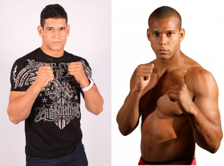 C.Mutante (esq.) e T.Marreta (dir.) se enfrentam no UFC Rio 4. Foto: Produção MMA Press (UFC/Divulgação)