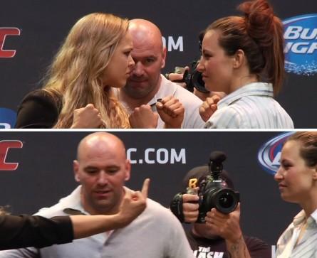 Após a encarada (acima), R.Rousey mostra o dedo para M.Tate (abaixo). Foto: Produção MMA Press (YouTube/Reprodução)