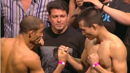 Aldo (esq.) encara Jung (dir.) antes do UFC Rio 4. Foto: Reprodução/ Youtube
