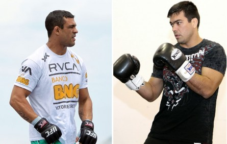 V.Belfort (esq.) e L.Machida (dir.) podem fazer a co-luta principal do  UFC 167. Foto: Produção MMA Press (Josh Hedges/UFC)