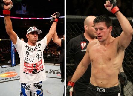 J. Shields (esq.) espera travar um duelo no jiu-jítsu contra D. Maia (dir.). Foto: Produção MMA Press (UFC/Divulgação)