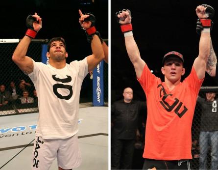 R.Assunção (esq.) e T.J. Dillashaw (dir.) fazem duelo na categoria peso galo. Foto: Produção MMA Press (Josh Hedges/UFC)