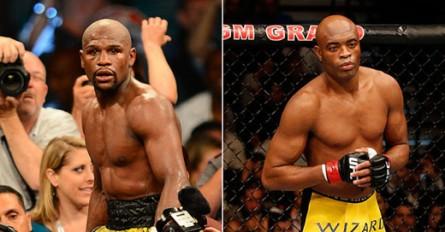 Mayweather (esq.) diz que irá torcer por A. Silva no UFC 168. Foto: Reprodução