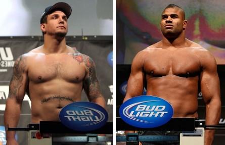 F. Mir (esq.) e A. Overeem (dir.) vão se enfrentar em novembro. Foto: Produção MMA Press (Josh Hedges/UFC)