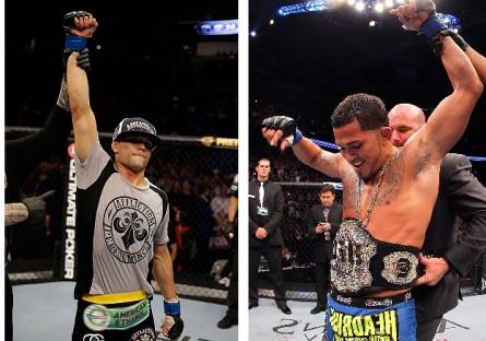 J. Thomson (esq.) e A. Pettis (dir.) disputam o título dos leves em dezembro. Foto: Produção MMA Press (Josh Hedges/UFC)