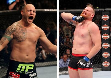 T. Browne (esq.) e J. Barnett (dir.) se enfrentam no dia 28 de dezembro. Foto: Produção MMA Press (Josh Hedges/UFC)