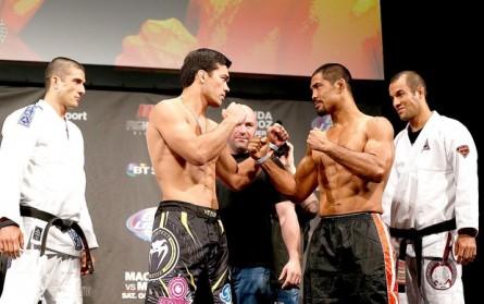 Lyoto e Muñoz se encaram sob o olhar de Dana White. Foto: Getty Images