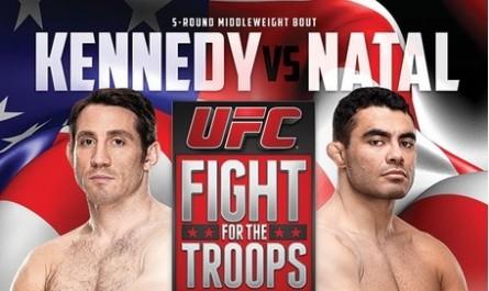 T. Kennedy (esq.) e R. Natal (dir.) fazem a luta principal do UFC Fight For The Troops 3. Foto: UFC/Divulgação
