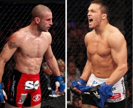 T. Saffiedine (esq.) encara J. Ellenberger (dir.) no dia 4 de janeiro de 2014. Foto: Produção MMA Press (Divulgação/Strikeforce-UFC)