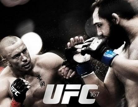 Luta principal entre St. Pierre (esq.) e J.Hendricks (dir.) é o destaque do pôster do UFC 167. Foto: Divulgação