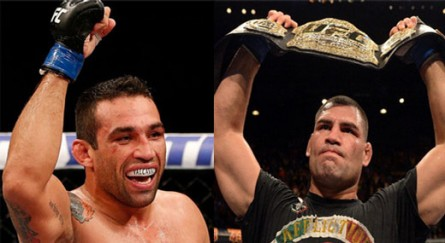 F.Werdum (esq.) e C.Velasquez (dir.) podem se enfrentar no México. Foto: Produção MMA Press (UFC/Divulgação)