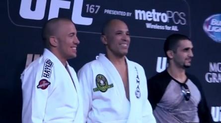R. Gracie (ao centro) durante os treinos de GSP (esq.). Foto: UFC/Reprodução